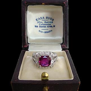 Divine 3 Carat Ruby 1.6 Carat Diamond Ring in 18k White Gold GIA Certified