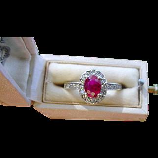 Pretty Vintage Ruby Diamond Ring