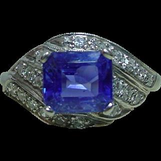 Deco 2.55 Carat Sapphire No Heat .53 ctw Diamond 900 Platinum Ring