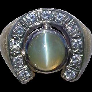 Vintage Cat's Eye Chrysoberyl and Diamond Ring Unisex