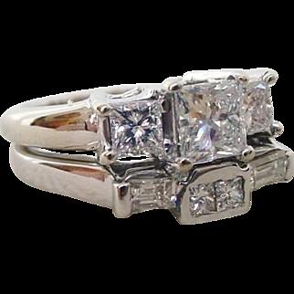 One Carat Three Diamond Engagment Ring plus Matching Custom Wedding Band