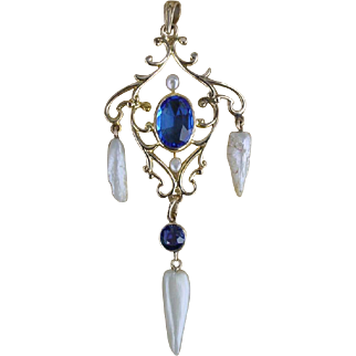 Antique Blue Sapphire and Mississippi Pearl 14k Gold Lavalier Pendant