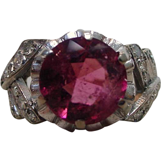 Vintage Art Deco Pink Tourmaline Diamond 900 Platinum Ring