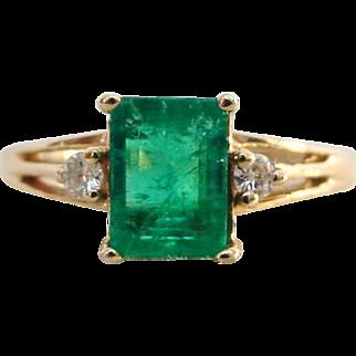 Vintage Emerald and Diamond Ring 14k Plumb Yellow Gold