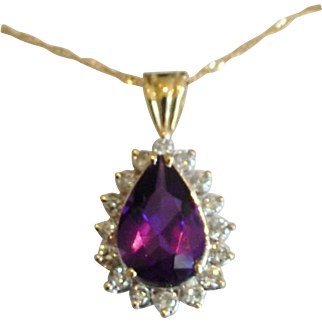 Beautiful Large Vintage Amethyst Diamond Pendant Necklace 14k Yellow Gold