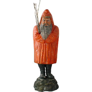 """15"""" Hunched Back Belsnickle Santa Candy Container Germany Antique 19th Century Orange"""
