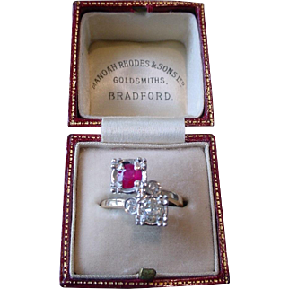 Vintage Art Deco Period Diamond & Ruby Crossover Ring 14k Gold