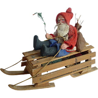 Vintage Old Germany Santa on Sled Candy Container