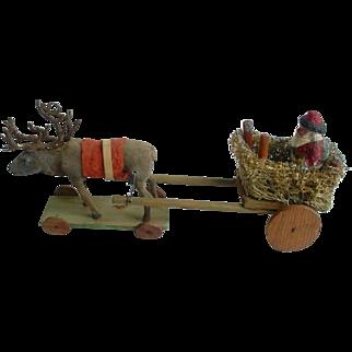 Vintage Old Germany Santa, Sleigh & Reindeer Pull Toy