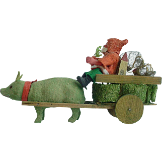 1920's German Pig Pulling Cart with Santa Claus Candy Container Marked Germany