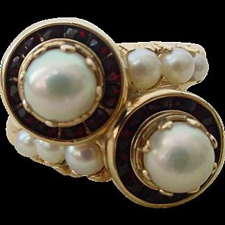 Vintage Old Pearl and Garnet Crossover Ring 14k Gold