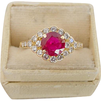 Vintage Burmese Ruby and Diamond Ring in 14k Yellow Gold