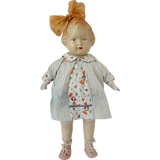 Old 1920's Composition Doll With Hair Loop Bow
