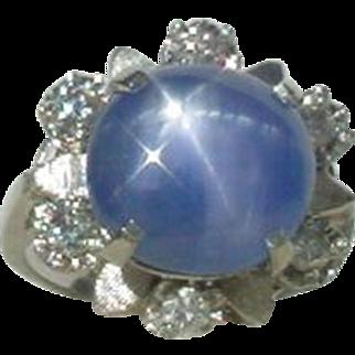 Vintage 8  Carat Unheated Blue Star Sapphire and Diamond Ring