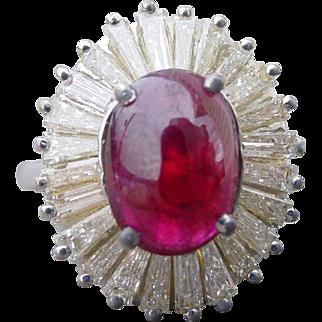 Vintage 2.27 Carat Ruby and 1.83 Carat Diamond Ring 18K Gold