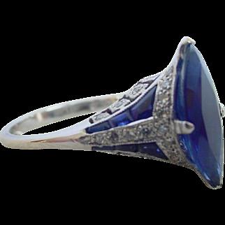 Exquisite Edwardian 2 Carat Blue Sapphire Ring 18K Gold Belle Epoque