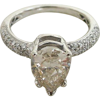 Gorgeous 1.6 Carat Colored Diamond in .81 ctw Pave' Diamond Setting Engagement and Wedding Band