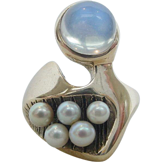 Vintage Modernist Blue Moonstone Natural Pearls 14k Yellow Gold Ring Peter Broome