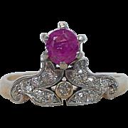 Antique 18K Gold Ruby Diamond Victorian Tiara Ring