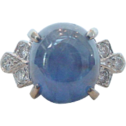 Lovely Vintage Blue Star Sapphire and Diamond Ring