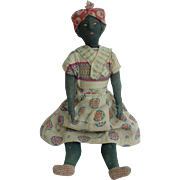 Primitive Antique Black Cloth Doll from Bahia Brazil