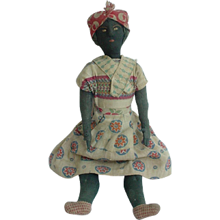 Primitive Antique Black Cloth Doll from Bahia Brazil