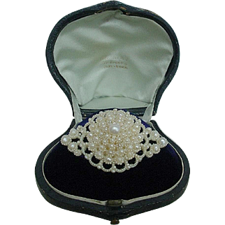 Antique Tiffany & Co.  Victorian Seed Pearl and 14k Gold Brooch in Original Fitted Box 1850's