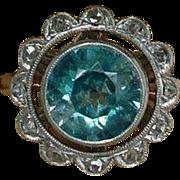 Antique Edwardian 900 Platinum 14k Gold Blue Zircon Diamond Ring