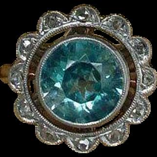 Vintage Edwardian 14k Gold 900 Platinum Blue Zircon Diamond Ring