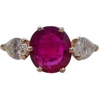 Vintage Large Natural Ruby and Diamond Ring EGL Certified