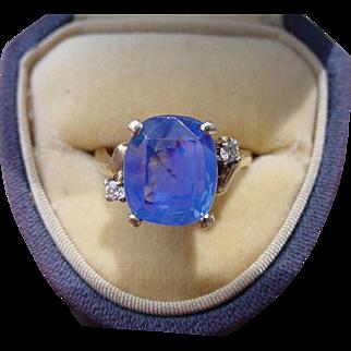 Vintage 6.35 Carat Blue Sapphire Ring EGL Certified No Heat