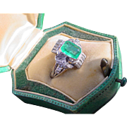 Gorgeous Vintage Art Deco 950 Platinum Emerald Diamond Ring