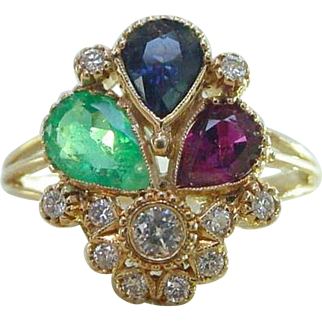 Vintage Portuguese 19k Gold Ruby Emerald Blue Sapphire Diamond Ring