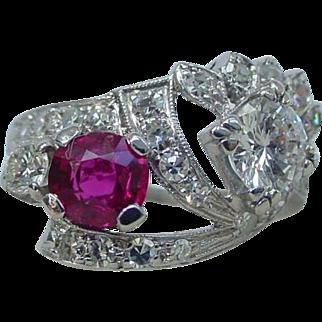 Vintage Toi et Moi No Heat Burmese Ruby and Diamond Ring Art Deco