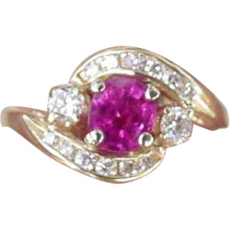 Vintage Natural Ruby and Diamond Ring Retro Period