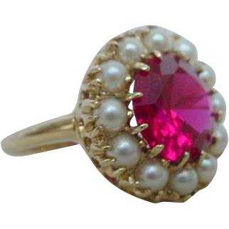 Vintage Art Deco Verneuil Ruby and Natural Pearl Ring
