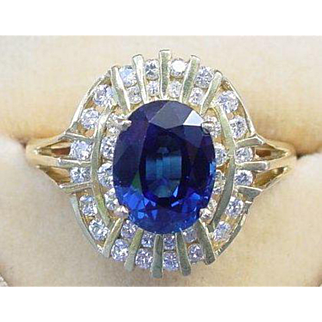 Vintage GIA No Heat 2.73 Carat Blue Sapphire and .50 Carat Diamond Ring 18K Yellow Gold