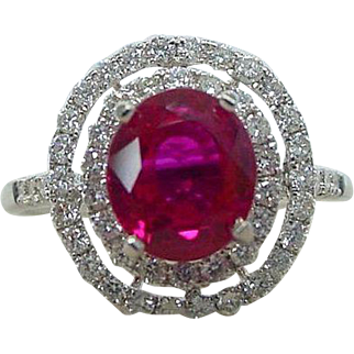 AGL Certified 2.15 Carat Burmese Ruby and .51 Carat Diamond Halo Ring 18k White Gold