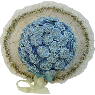 Elegant Ladies Gatsby Large Brimmed Hat Covered in Flowers  Late Teens - 1920s