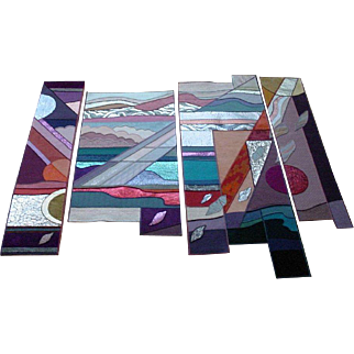 "Vintage 1988 Helen Webber ""Elements"" Hand Made Tapestry 4 Panels Limited Edition 1/100"