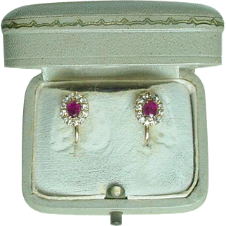 Old Burmese Ruby and Diamond Earrings With Screw Backs