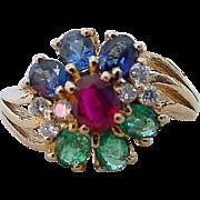 Vintage Ruby Sapphire Emerald Diamond Flower Motif Ring