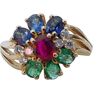 Vintage Ruby Sapphire Emerald Diamond Flower Motif Ring