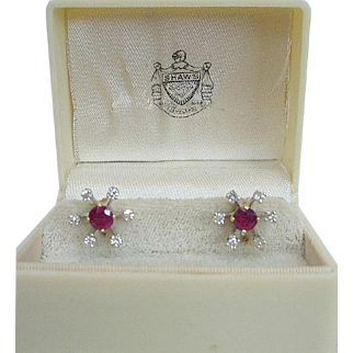 Vintage Natural Ruby Studs and Diamond Jacket Earrings 18K & 14K Gold
