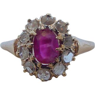 Antique Natural Unheated Ruby and Diamond Ring