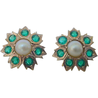 Vintage Green Garnet Pearl 14k Rose Gold Pierced Screw Post Earrings