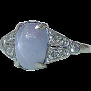 Exquisite Art Deco 900 Platinum 4.5 Carat Star Sapphire Diamond Ring