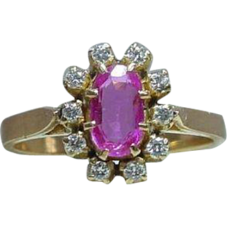 Vintage Unheated Pink Sapphire and Diamond Ring in 20K Yellow Gold EGL