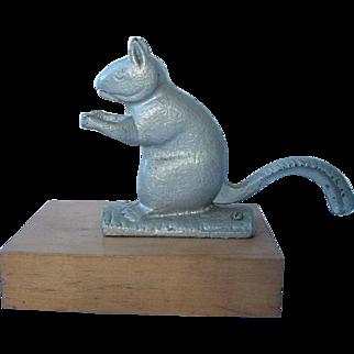 Antique 19th Century Zinc Painted Cast Iron Squirrel Nut Cracker on Maple Base