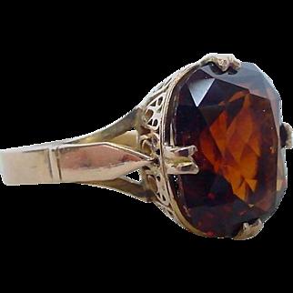 Lovely Art Deco 7 Carat Spessartite Garnet Ring